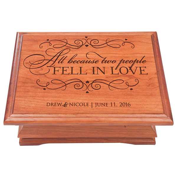 Personalized Jewelry Box for Couple, Personalized Anniversary Gift, Parent Wedding Keepsake Box for Her or Him, All Because Two People Fell In Love
