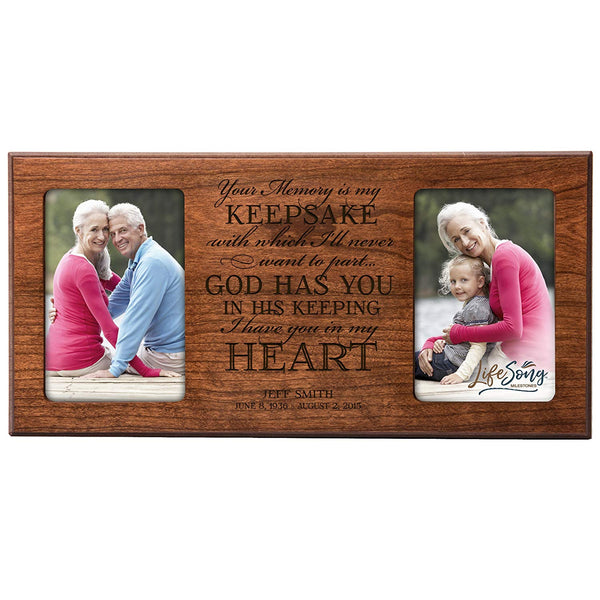 Personalized Memorial Sympathy Picture Frame, Your Memory Is My Keepsake With Which I'll Never Want To Part, Custom Frame Holds Two 4x6 Photos, Made In USA by LifeSong Milestones