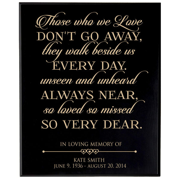 Personalized Wedding Memorial Gift, Sympathy Wall Plaque, Those Who We Love Don't Go Away They Walk Beside Us, Custom Engraved Plaque measures 12x15 by LifeSong Milestones USA Made