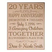 Personalized 20th Anniversary Wall Plaque - Together Is A Wonderful Place Maple Veneer