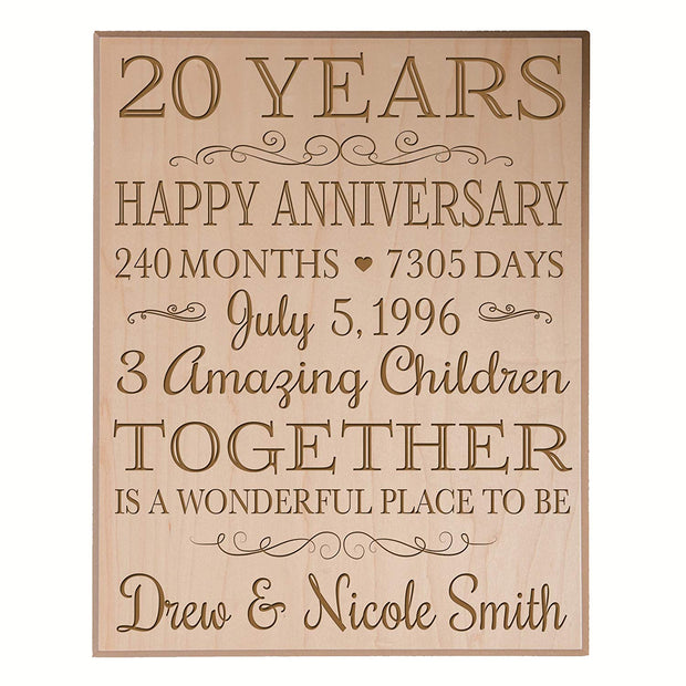 Personalized 20th Anniversary Wall Plaque - Together Is A Wonderful Place