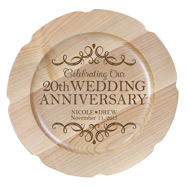 "Personalized 20th Wedding Anniversary 12"" plate Custom Engraved for Husband or Wife by LifeSong Milestones USA Made"