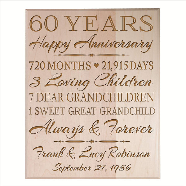 Personalized 60th Anniversary Wall Plaque - True Love Lasts Forever Maple Solid