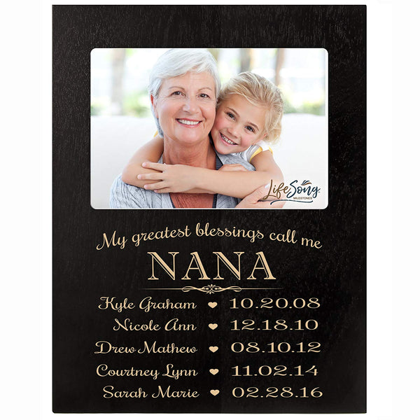 Personalized Gift for Nana Picture Frame with children's names and kid's birth date special dates My Greatest blessings call me Nana holds 4x6 photo by LifeSong Milestones