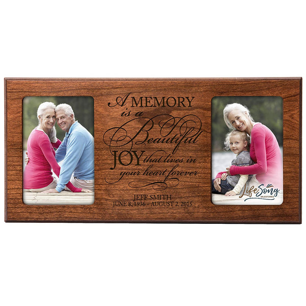 Personalized Memorial Sympathy Picture Frame, A Memory Is A Beautiful Joy That Lives in Your Heart Forever, Custom Frame Holds Two 4x6 Photos, Made In USA by LifeSong Milestones