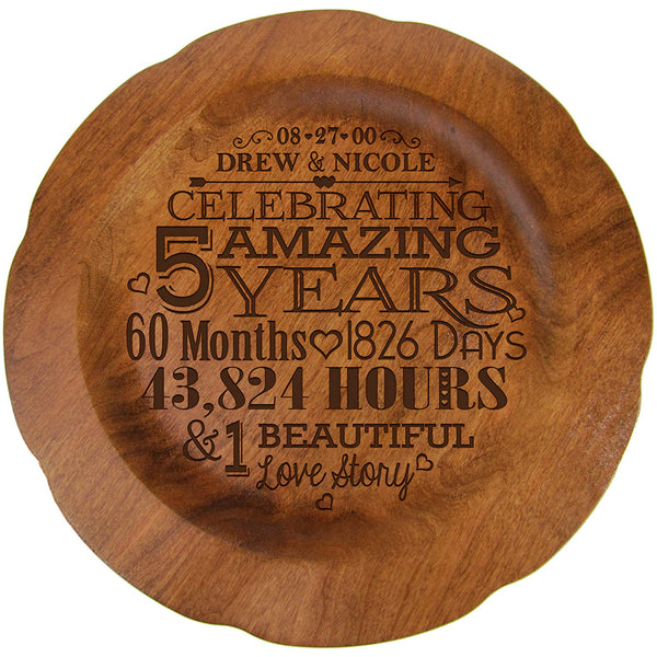 "Personalized 5th Wedding Anniversary Plate Gift for Couple, Anniversary Gifts for Her, Happy Anniversary 12"" D Custom Engraved for Husband or Wife By LifeSong Milestones USA Made"