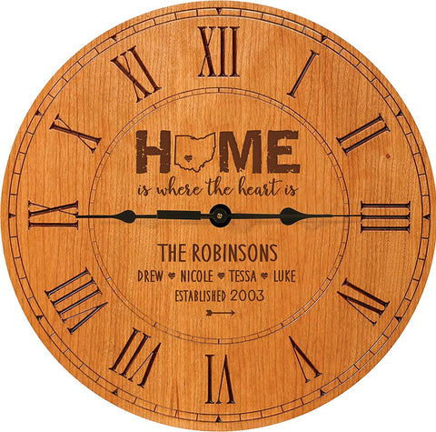 Personalized Home Roman Clock Gift - Home Is Where The Heart Is.