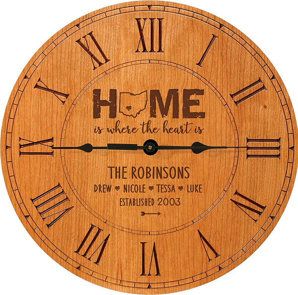 Personalized Cherry wood Roman Clock Home is where the heart is Family Established clock with Last Name, First Names and Date Established by LifeSong Milestones 12 in