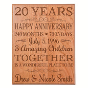 Personalized 20th Anniversary Wall Plaque - Together Is A Wonderful Place Cherry Solid