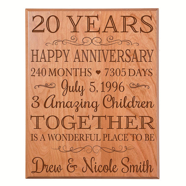 20th Wedding Anniversary Personalized Wall Plaque