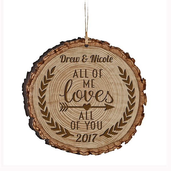 Personalized Valentine's Day Gifts Ornament Custom Engraved Housewarming gift ideas for him her couple All of Me Loves All of You by LifeSong Milestones