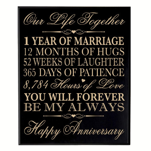 one year gift first year 1st for couple 12x15 wall plaque wall decor