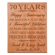Personalized 70th Anniversary Wall Plaque - Precious Memories Cherry Solid