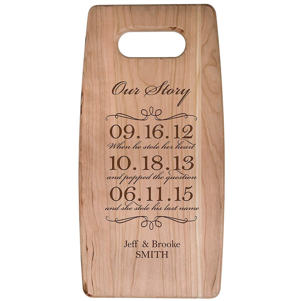 "Personalized cherry Cutting Board Our Story When he stole her heart and popped the...Wedding Anniversary Gift Ideas for Him, Her, Couples Established Dates to Remember 7""w x 14""h"