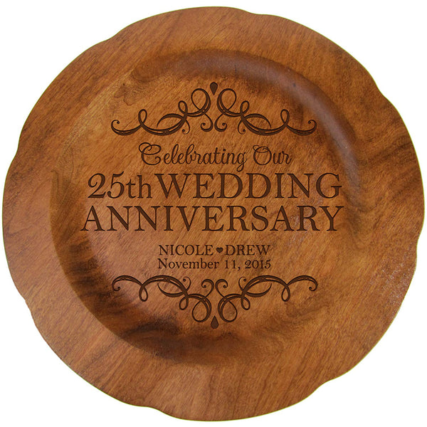 "Personalized 25th Wedding Anniversary Plate Gift for Couple, 25 year Anniversary Gifts for Her 12"" D Custom Engraved for Husband or Wife By LifeSong Milestones USA Made"