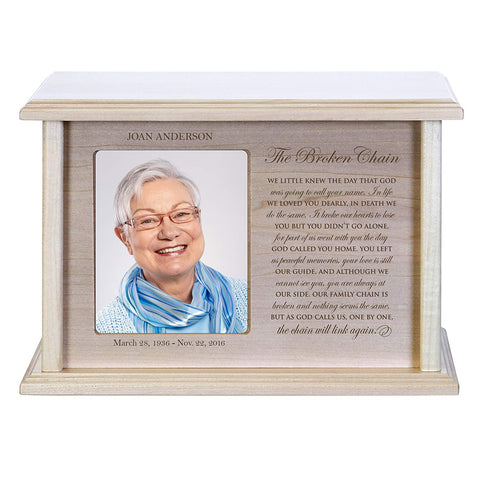 Cremation Urns for Human Ashes Memorial Keepsake box for cremains, personalized Urn for adults and children ashes The Broken Chain WE LITTLE KNEW Holds small portion of ashes and holds 4x6 photo
