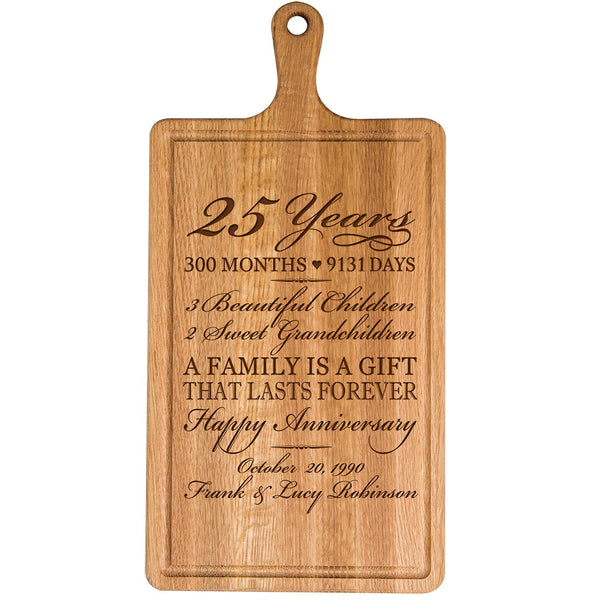 Personalized 25th Year Anniversary Gift for Him Her wife husband Couple Cheese Cutting Board Customized with Year Established dates to remember for Wedding Gift ideas by LifeSong Milestones