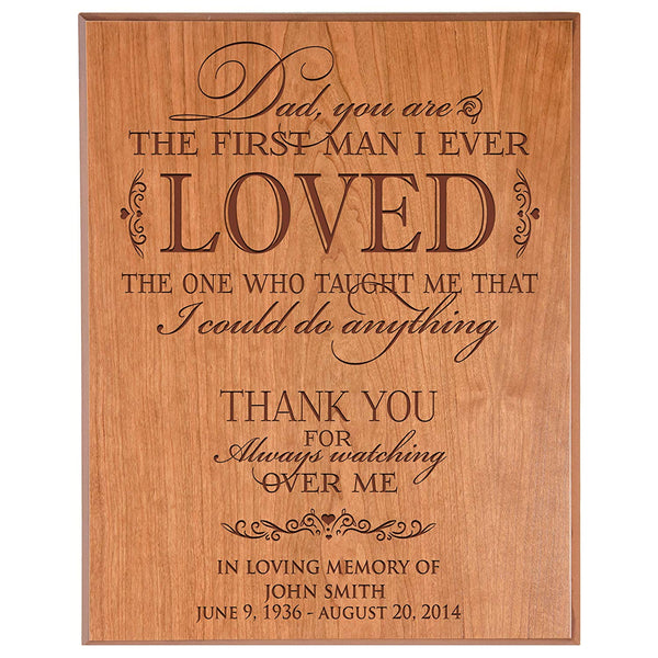 Personalized Wedding Memorial Wall Plaque - Dad You Are The First Man I Ever Loved