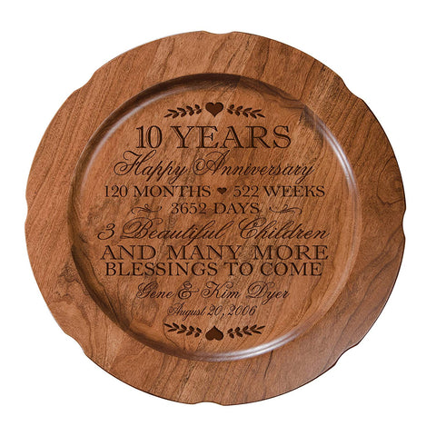 "10th Wedding Anniversary Plate Gift for Couple, Tenth Anniversary Gifts for Her, Happy Wedding Anniversary 12"" D Custom Engraved for Husband or Wife By LifeSong Milestones USA Made"