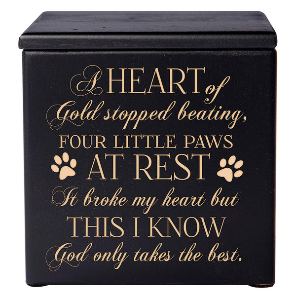 Cremation Urns for Pets Memorial Keepsake box for Dogs and Cats, Urn for pet ashes A heart of gold stopped beating four little paws at rest by LifeSong Milestones