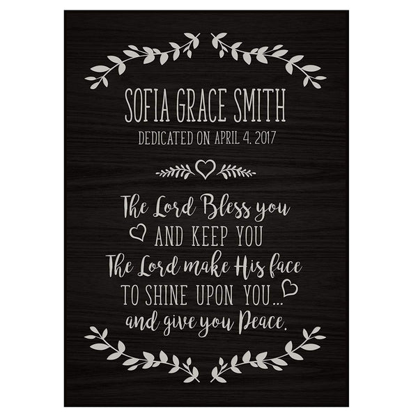 Personalized Baptism Wall Plaques - The Lord Bless You black