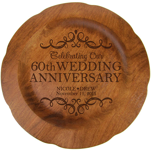 "Personalized 60th Wedding Anniversary Plate Gift for Couple, Custom Happy Sixtieth Anniversary Gifts for Her, 12"" D Custom Engraved for Husband or Wife by LifeSong Milestones USA Made"