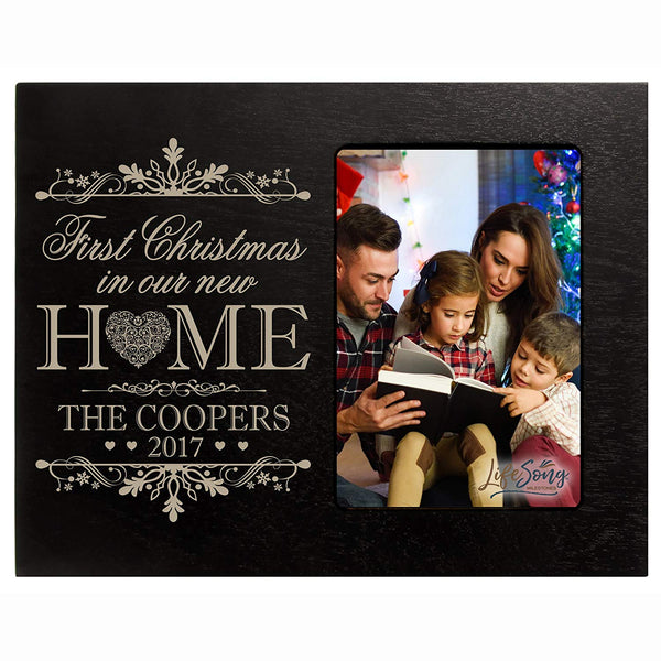 LifeSong Milestones Personalized Home Christmas photo frame holds 4x6 photograph