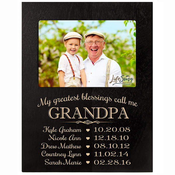 Personalized Gift for Grandpa Picture Frame with children's names and kid's birth date special dates My Greatest blessings call me Grandpa holds 4x6 photo by LifeSong Milestones