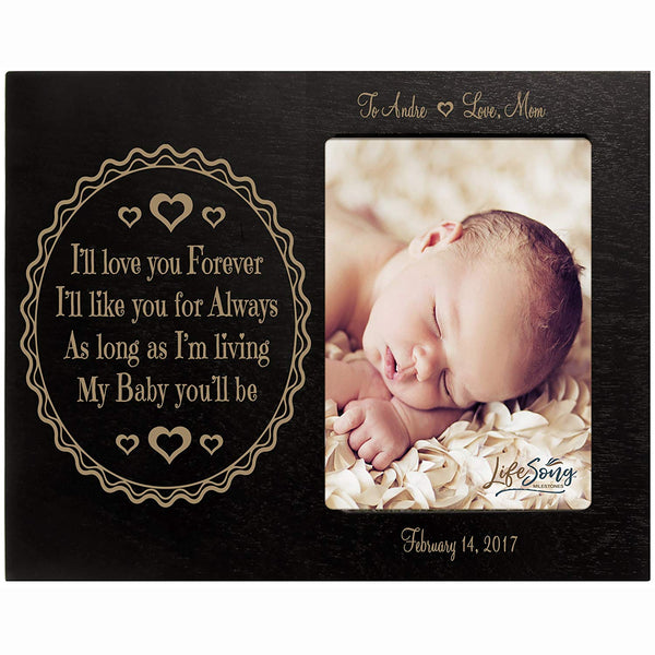 Personalized Valentine's Day Photo Frame Gift Custom Engraved ideas for couple I'll love you Forever I'll like you for Always Frame holds 4 x 6 picture