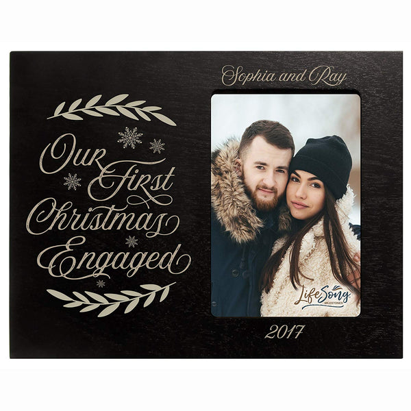 Personalized First Christmas Engaged with Snow photo frame holds 4x6 photograph Exclusively by LifeSong Milestones.