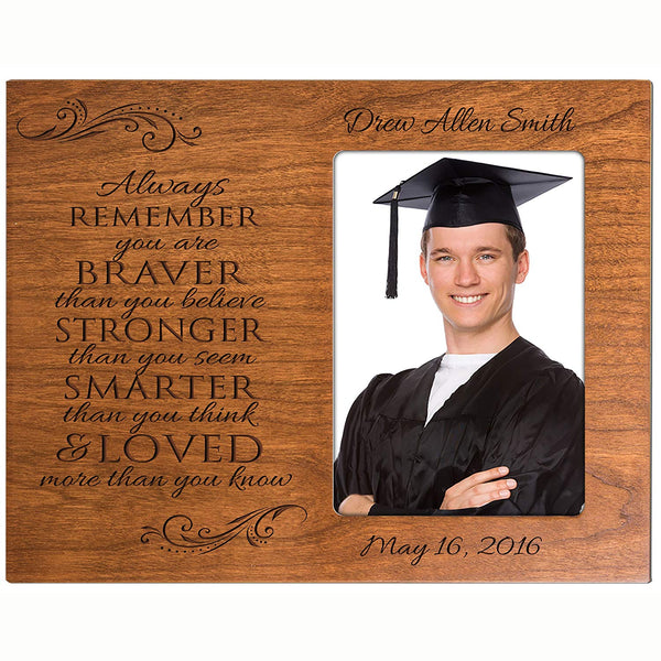 Personalized Graduation Photo Frame - Always Remember You Are Braver Than You Believe (Cherry)