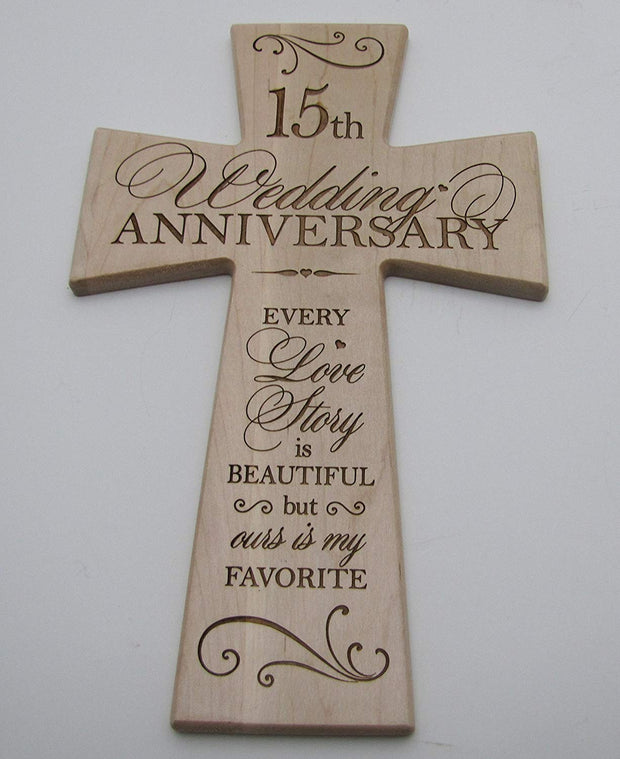 Anniversary Cross 15th Anniversary Gift for him fifteenth anniversary gift for her 15 year anniversary idea