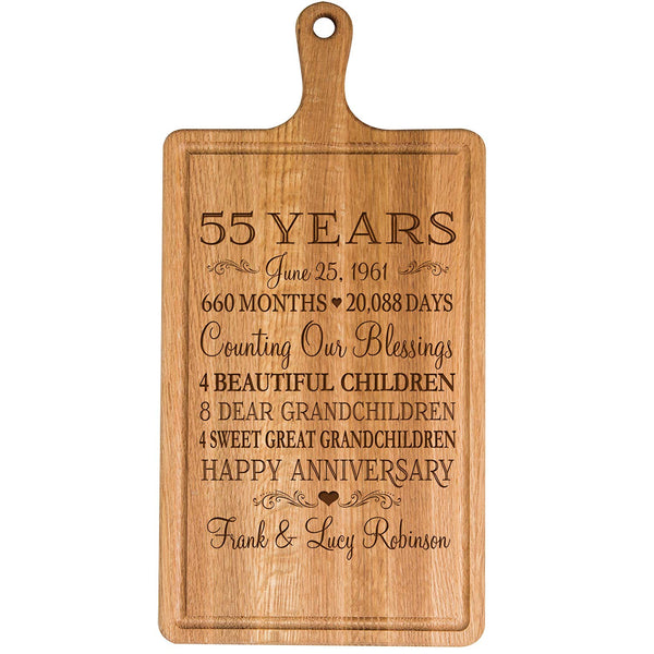 Personalized 55th Year Anniversary Gift for Him Her wife husband Couple Cheese Cutting Board Customized with Year Established dates to remember for Wedding Gift ideas by LifeSong Milestones