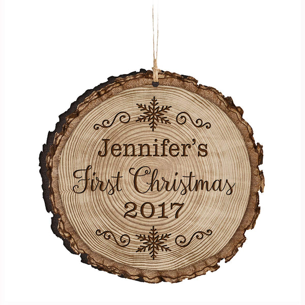 Personalized Baby's First Christmas Wooden Ornament - Snow Flake