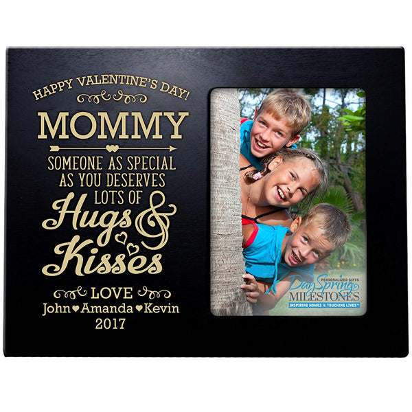 mommy hugs & kisses valentine's day photo frame picture black