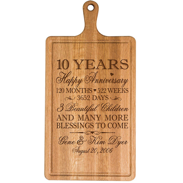 Personalized 10th Year Anniversary Gift for Him Her wife husband Couple Cheese Cutting Board Customized with Year Established dates to remember for Wedding Gift ideas by LifeSong Milestones