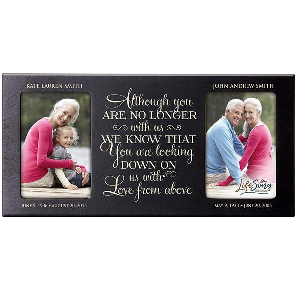 Personalized Memorial Sympathy Picture Frame, Although You Are No Longer With Us We Know That You Are Looking, Custom Frame Holds Two 4x6 Photos, Made In USA by LifeSong Milestones