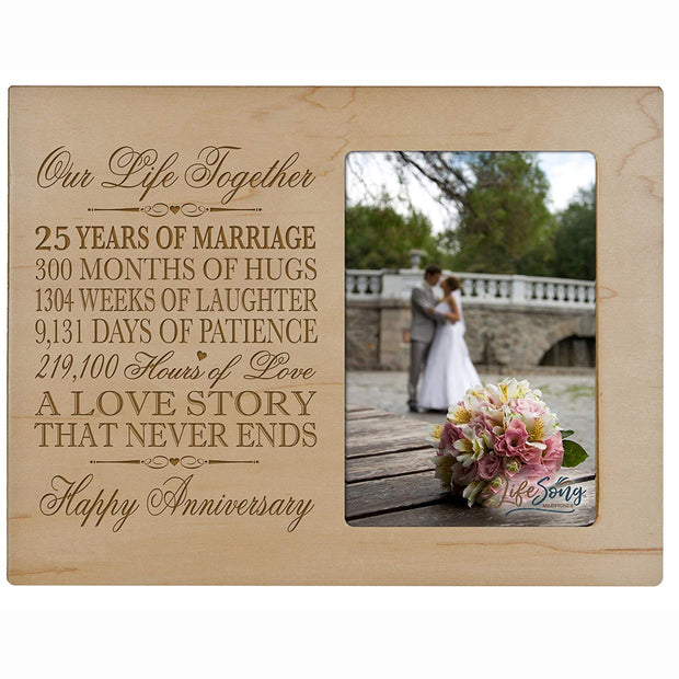 25th Anniversary Photo Frame - Our Life Together Maple