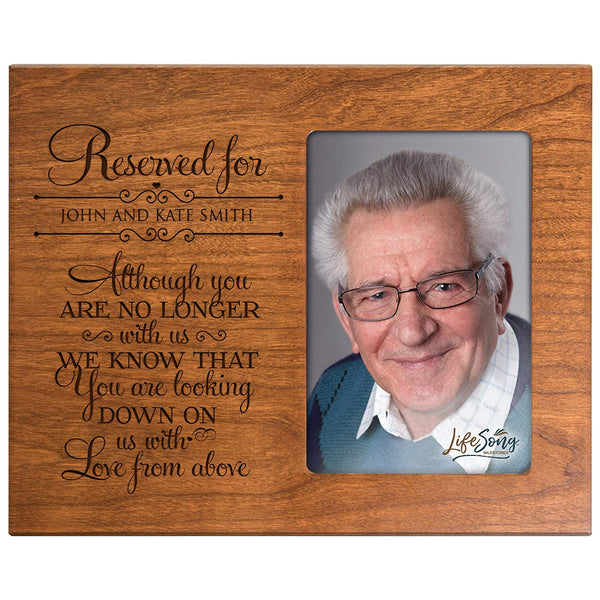 LifeSong Milestones Personalized Memorial Sympathy Picture Frame, Although You Are No Longer With Us We Know You Are Looking Down On Us, Custom Frame Holds 4x6 Photo, Made In USA by