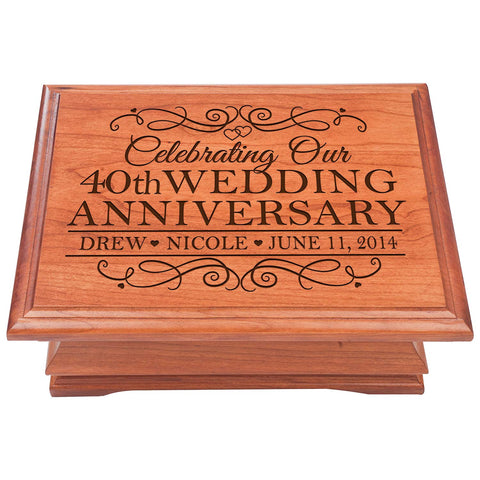 40th Wedding Anniversary gift for couple Personalized Cherry wood Jewelry Organizer keepsake box