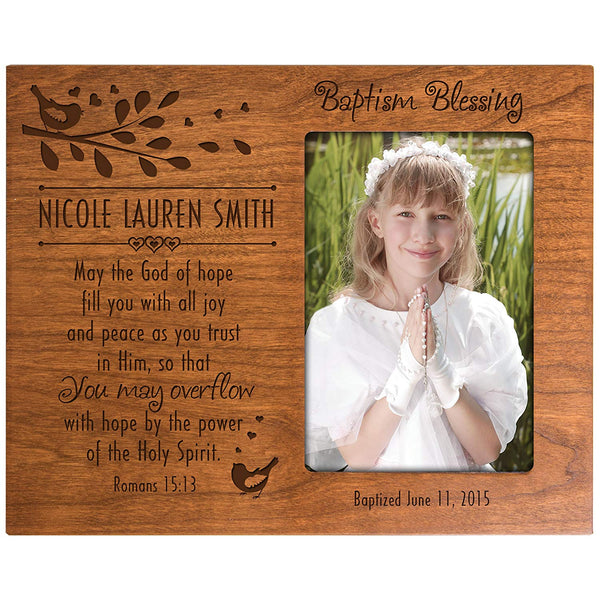 Personalized Baptism Photo Frame Custom Cherry Frame Holds 4x6 Photo May the God of Hope fill you will all Joy and Peace