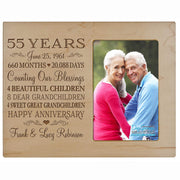 Personalized 55th Year Anniversary Photo Frame - Counting Our Blessings Maple