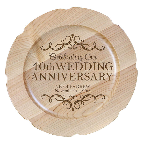 Personalized 40th Anniversary Maple Engraved Plates Design 1
