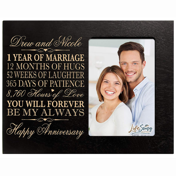 Personalized one year anniversary gift her him couple Custom Engraved 1st year wedding celebration for husband wife girlfriend boyfriend photo frame holds 4x6 photo by LifeSong Milestones