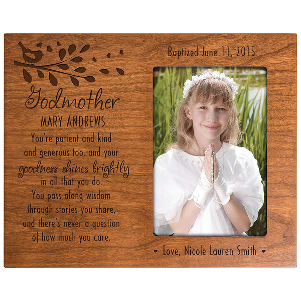 Personalized Godmother gift from Godchild Baptism Photo Frame You're Patient and kind and generous too,and goodness shines brightly in all you do Cherry picture frame holds 4x6 photo