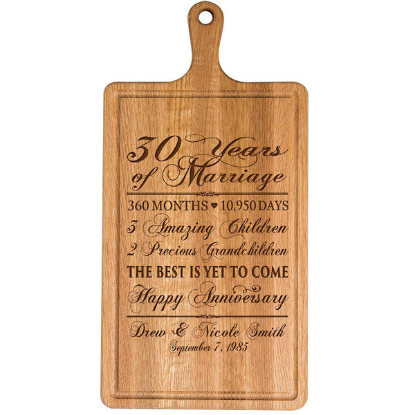 Personalized 30th Year Anniversary Gift for Him Her wife husband Couple Cheese Cutting Board Customized with Year Established dates to remember for Wedding Gift ideas by LifeSong Milestones