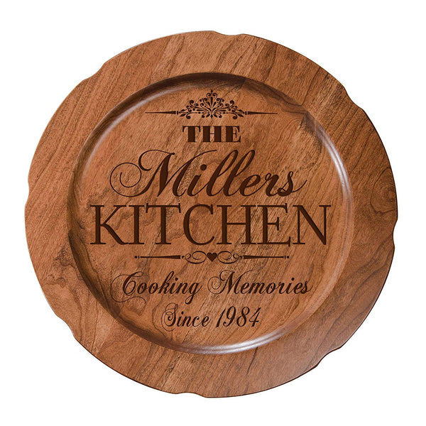 "Personalized Cooking Memories Wedding Anniversary Gift for Her, Happy Anniversary for Him, 12"" plate Custom Engraved for Husband or Wife by LifeSong Milestones USA Made"