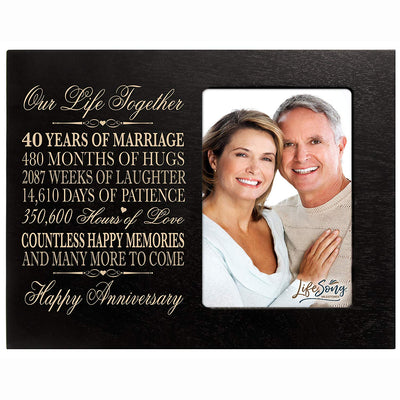 40th Anniversary Photo Frame - Our Life Together Black