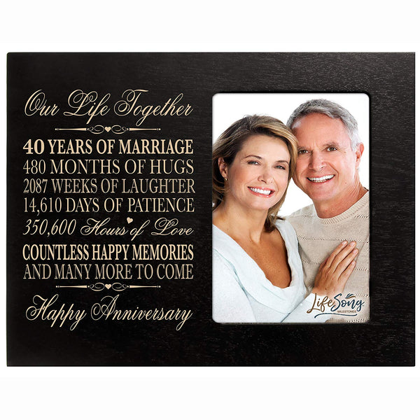"LifeSong Milestones Forty Year Wedding Anniversary Frame Gift for couple him her Custom Engraved 40th year wedding celebration Anniversary Gift Photo Frame Holds 1 4x6 Photo 8"" H X 10"" W"