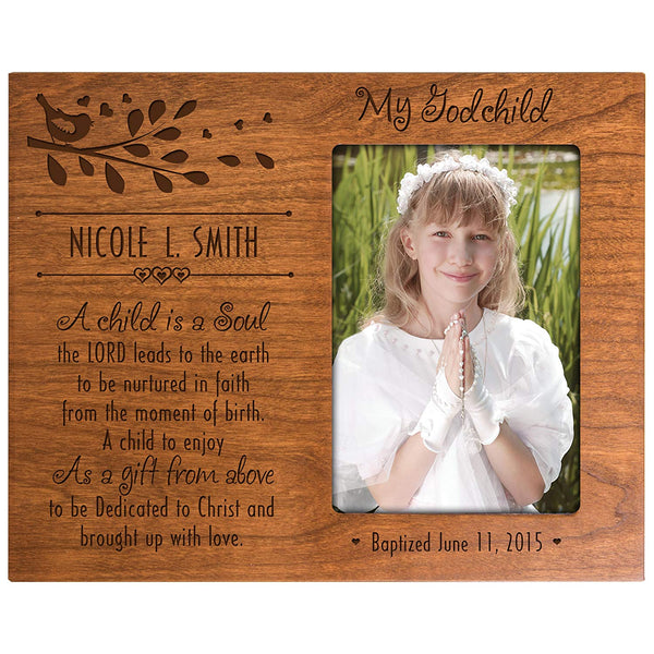 "Personalized Baptism Photo Frame Gift ""My Godchild"""